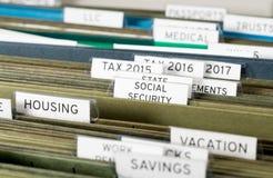 Домашняя система файлов для социального обеспечения организованного в папках стоковое изображение
