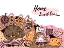 Домашняя сладостная домашняя иллюстрация Doodle Стоковое фото RF