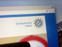 Домашняя страница баварской полиции положения Стоковые Изображения