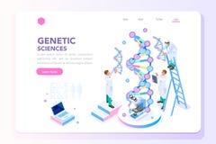 Домашняя страница биохимии Biotech лаборатории генетики иллюстрация штока