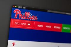 Домашняя страница вебсайта Филадельфии Phillies бейсбольной команды r стоковая фотография