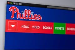 Домашняя страница вебсайта Филадельфии Phillies бейсбольной команды r стоковые изображения rf