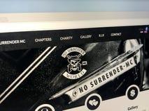 Домашняя страница клуба мотоцикла отсутствие сдачи Стоковое Изображение