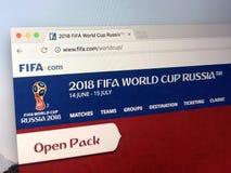 Домашняя страница ФИФА Стоковая Фотография RF