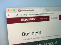 Домашняя страница Equifax Стоковая Фотография RF