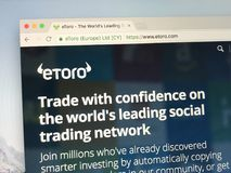 Домашняя страница eToro стоковая фотография