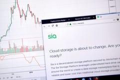 Домашняя страница Siacoin стоковые изображения rf