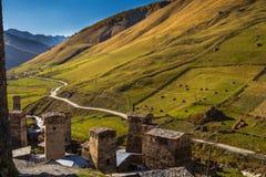 Дома, ландшафты и башни Svan Ushguli Стоковое Изображение RF