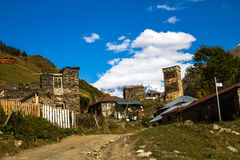 Дома, ландшафты и башни Svan Ushguli Стоковые Фото
