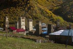 Дома, ландшафты и башни Svan Ushguli Стоковое Фото