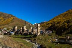 Дома, ландшафты и башни Svan Ushguli Стоковые Фотографии RF