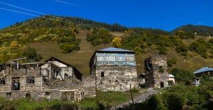 Дома, ландшафты и башни Svan Ushguli Стоковые Изображения RF