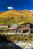 Дома, ландшафты и башни Svan Ushguli Стоковые Изображения