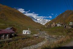 Дома, ландшафты и башни Svan Ushguli Стоковая Фотография RF