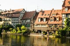 Дома Бамберга вдоль реки Стоковые Изображения