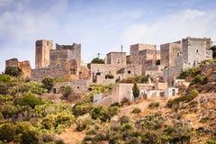 Дома башни в полуострове Vathia Греции Mani стоковые изображения