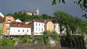Дома берега реки в Любляне видеоматериал