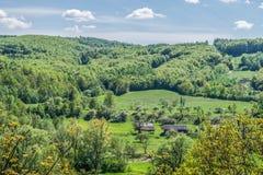 Дома в деревне лесом Стоковые Фото