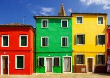 Дома в острове Burano, Италии Стоковое фото RF