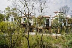 Дома в древесинах на солнечном полдне зимы Стоковые Фото