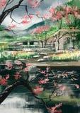 Дома в саде - изображение запаса Стоковые Изображения RF