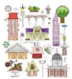 Дома города и собрание мира комплекта элемента улицы desing счастливое Стоковая Фотография RF