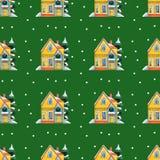 Дома зимы картины акварели безшовные Стоковая Фотография