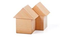 Дома игрушки сделанные из деревянных блоков Стоковое Фото