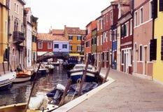 дома Италия venice burano цветастые Стоковая Фотография