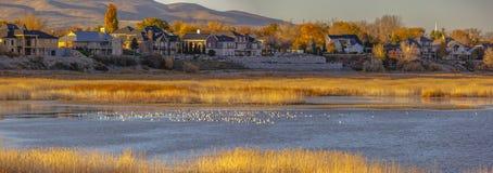 Дома и озеро против горы в долине Юты стоковое изображение