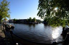 Дома канала в Амстердам Стоковая Фотография