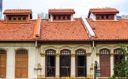 Дома кирпича в Чайна-тауне Сингапура Стоковые Изображения
