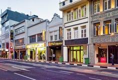 Дома магазина в южной дороге моста в Сингапуре Чайна-тауне Стоковые Фотографии RF