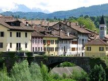 Дома моста Беллуно исторические стоковое фото
