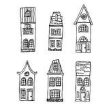 Дома нарисованные рукой винтажные Стоковые Изображения