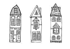 Дома нарисованные рукой винтажные Стоковое фото RF