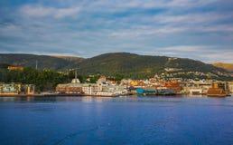 Дома на береге норвежского моря, Бергена Стоковое фото RF
