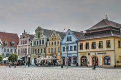 Дома на городской площади в чехии Frydlant Стоковая Фотография RF