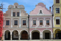 Дома на квадрате мира в Slavonice Стоковые Фотографии RF