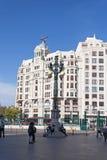 Дома на квадрате перед главным вокзалом в Валенсии, Испании Стоковое Фото