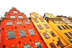 Дома на квадрате Stortorget в Стокгольме Стоковая Фотография