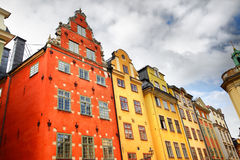 Дома на квадрате Stortorget в Стокгольме Стоковое фото RF