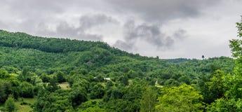 Дома на холме на пасмурный день Стоковые Фотографии RF