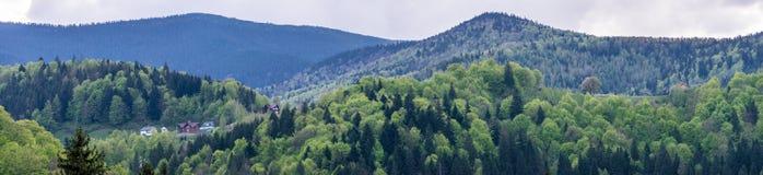 Дома на холмы Карпат стоковая фотография rf