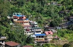 Дома на холме в Ifugao, Филиппинах Стоковое Фото