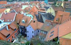 Дома немца крыш красной плитки Стоковое фото RF
