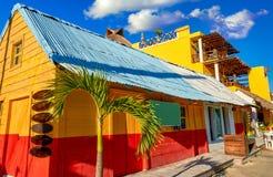 Дома острова Holbox красочные карибские мексиканськие стоковое фото rf