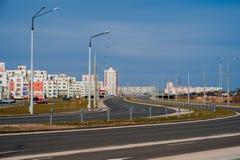 Дома панели Coloful в городе Gomel, Беларуси Стоковые Изображения
