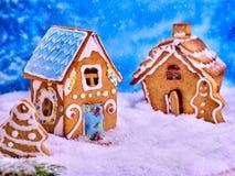 2 дома печенья и человек пряника Стоковая Фотография RF