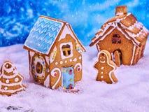 2 дома печенья и человек пряника Стоковое Фото